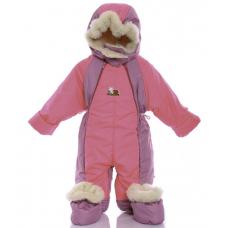 Детский зимний комбинезон Babykroha Трансформер Розовый со сл
