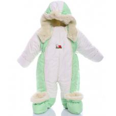 Детский зимний комбинезон Babykroha Трансформер Белый с зелен