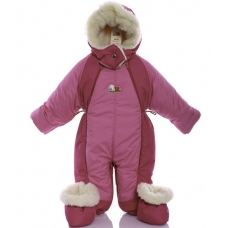 Детский зимний комбинезон Babykroha Трансформер Розовый с мал