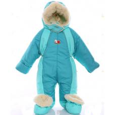 Детский зимний комбинезон Babykroha Трансформер Бирюзовый с м