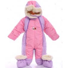 Детский зимний комбинезон Babykroha Трансформер Розовый с фио