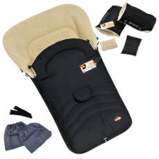 Зимний набор конверт и рукавички на овчине For Kids Maxi Черн