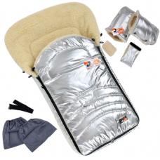 Зимний набор конверт и рукавички на овчине For Kids Maxi Сере