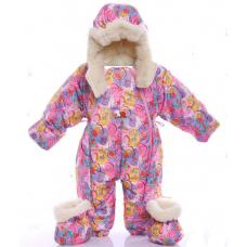 Детский зимний комбинезон Babykroha Трансформер (цветной) Роз