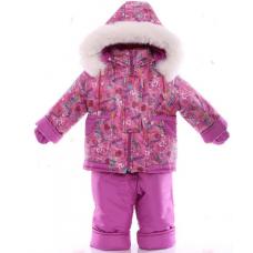 Детский зимний комбинезон Babykroha Малютка Розовый с сердечк