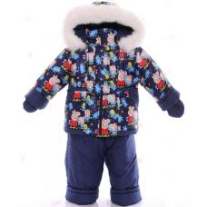 Детский зимний комбинезон Babykroha Малютка Синий с Пеппой