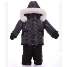 Детский зимний комбинезон Babykroha Малютка Коричневый квадра