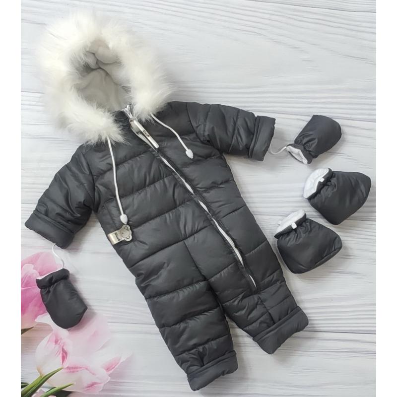 Зимний сдельный комбинезон на овчине ТМ Elliz Зима Черный