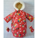 Детский зимний комбинезон-трансформер Киндер Крошка Красный