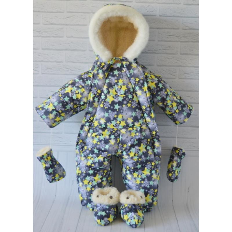 Детский зимний комбинезон-трансформер Киндер Крошка Серый