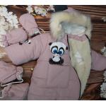 Зимний сдельный комбинезон на овчине Киндер Classic Panda Кофе