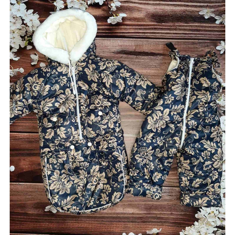 Зимний комбинезон тройка (3 в 1) Киндер Мишка Тедди Синий с цветами