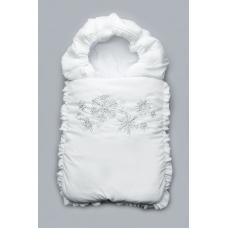 Зимний конверт на выписку Модный карапуз Снежинки Белый с сер