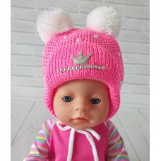 Детская зимняя шапка для девочки Киндер Dream Малиновый