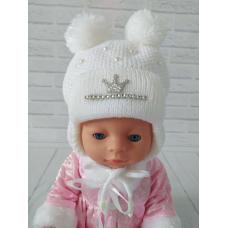 Детская зимняя шапка для девочки Киндер Dream Белый