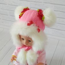 Детская зимняя шапка Киндер Анжелика Коралловый