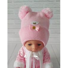 Детская зимняя шапка для девочки Киндер Teddy Розовый