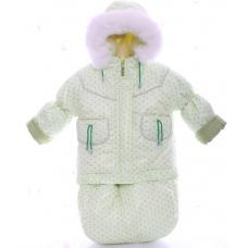 Зимний комбинезон 3 в 1 Babykroha Тройка Мятный в горошек