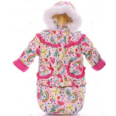 Зимний комбинезон 3 в 1 Babykroha Тройка Розовая радуга