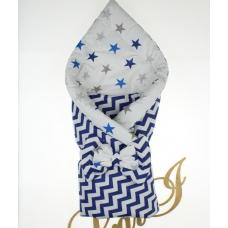 Двухсторонний конверт-одеяло Lari Волна Белый с синим (звезды