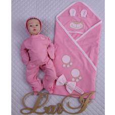Подарочный набор на выписку Lari Мишутка с Бусинкой Розовый