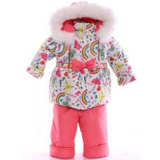 Детский зимний комбинезон Babykroha Евро Белый в радугу