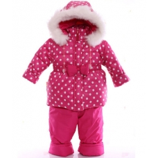 Детский зимний комбинезон Babykroha Евро Малиновый в горошек