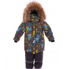 Зимний костюм-комбинезон Babykroha Стиль Серый с буквами