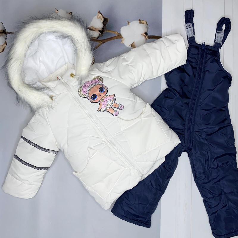 Зимний комбинезон для девочек Киндер Lol Белый с синим