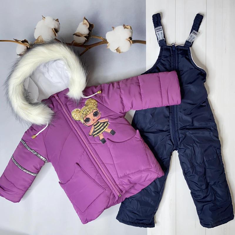 Зимний комбинезон для девочек Киндер Lol Фиолетовый с синим