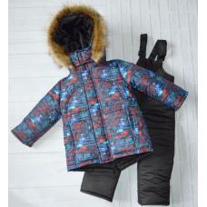 Детский зимний костюм-комбинезон Киндер Sport Автогонки Красн