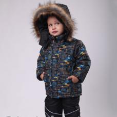 Детский зимний костюм-комбинезон Киндер Sport Автогонки Желты