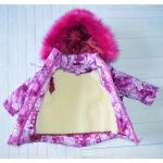 Детский зимний костюм-комбинезон для девочки Киндер Star Малиновый с одуванчиками