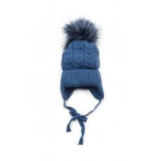 Зимняя шапочка Елка для девочки Модный карапуз Синий (03-0104
