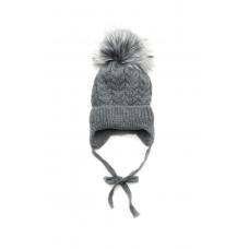 Зимняя шапочка Елка для девочки Модный карапуз Серый (03-0104