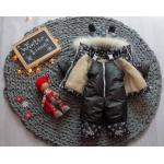 Детский зимний костюм-комбинезон на овчине Natalie LV Черный с белым