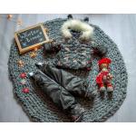 Детский зимний костюм-комбинезон на овчине Natalie LV Черный с коричневым
