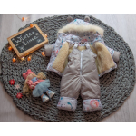 Детский зимний костюм-комбинезон на овчине Natalie Бежевый с цветами