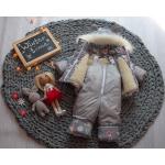 Детский зимний костюм-комбинезон на овчине Natalie Серый с зайчиком
