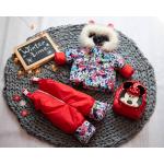 Детский зимний костюм-комбинезон на овчине Natalie Красный с Минни