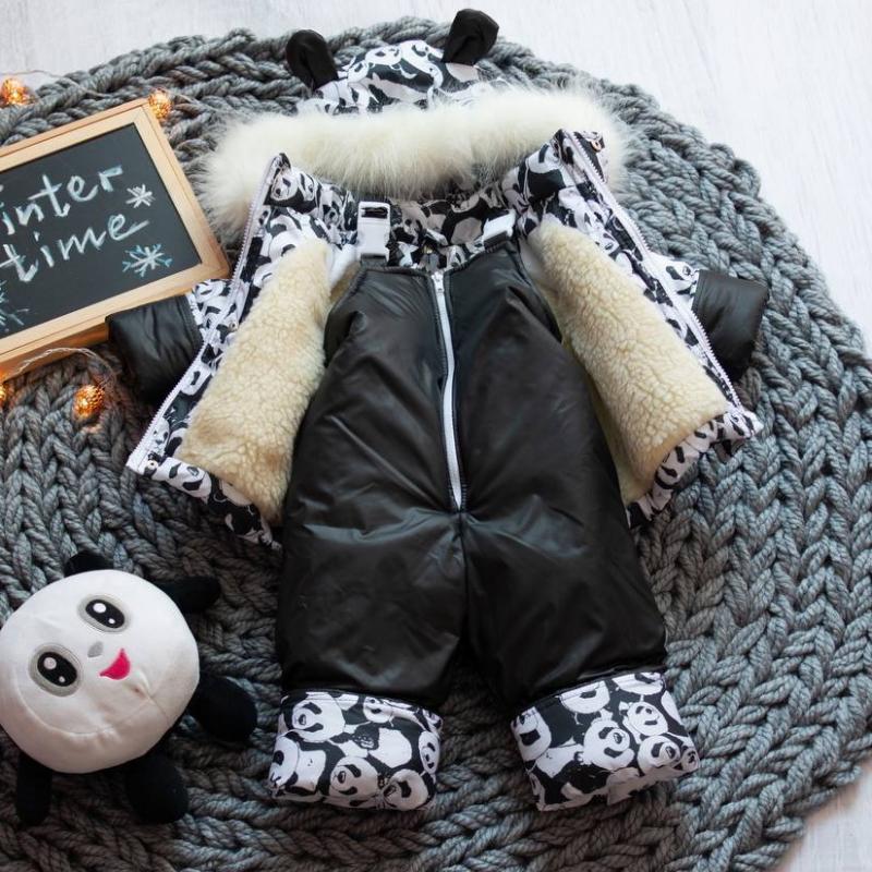 Детский зимний костюм-комбинезон на овчине Natalie Панда
