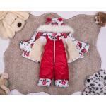 Детский зимний костюм-комбинезон на овчине Natalie Красный с розами