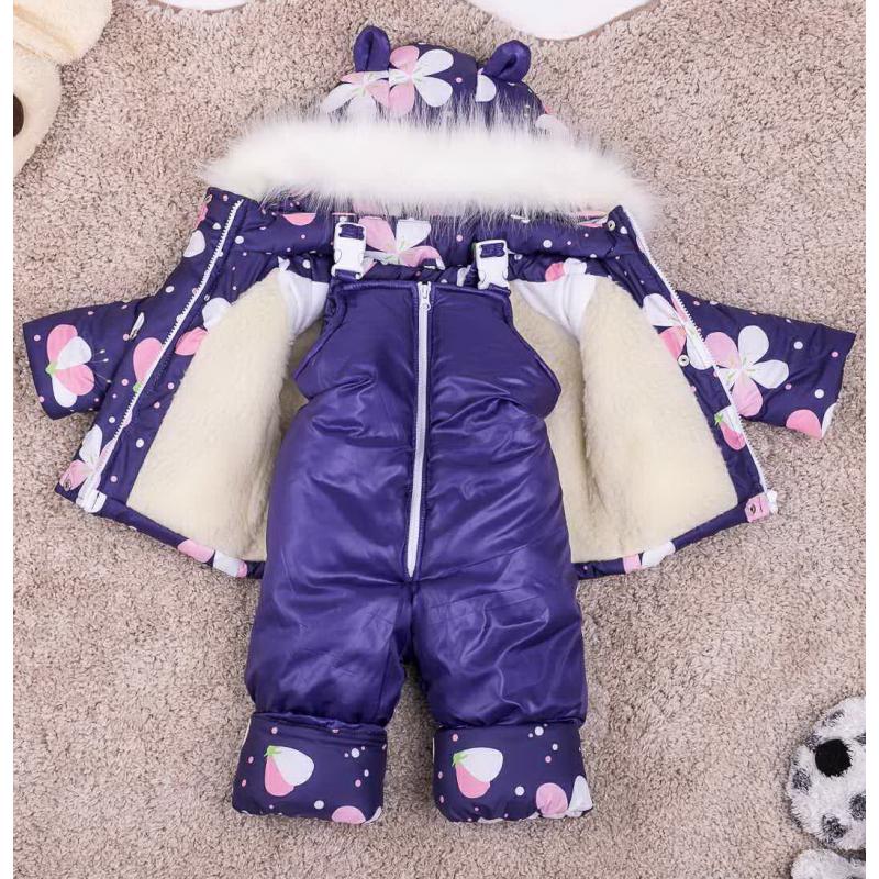 Детский зимний костюм-комбинезон на овчине Natalie Синий с цветами