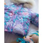 Детский зимний костюм-комбинезон на овчине Natalie Фиолетовый с розами
