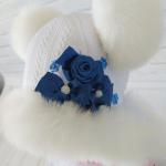 Детская зимняя шапка с шарфиком Киндер Джульетта Белый с синим