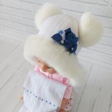 Детская зимняя шапка с шарфиком Киндер Джульетта Белый с сини