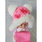 Детская зимняя шапка с шарфиком Киндер Джульетта Коралловый