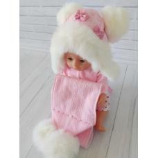 Детская зимняя шапка с шарфиком Киндер Джульетта Пудра