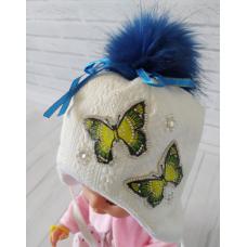 Детская зимняя шапка Киндер Луиза Белый с синим