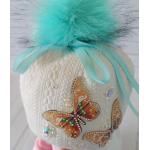 Детская зимняя шапка Киндер Луиза Белый с бирюзовым